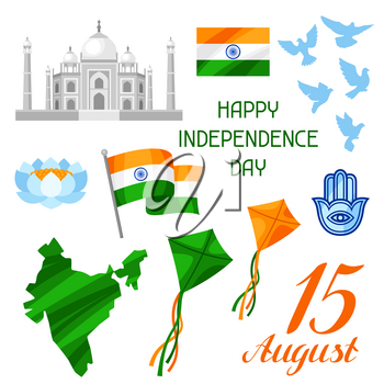 India Independence Day set of objects. Celebration 15 th of August.