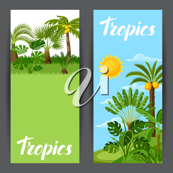 Banners with tropical palm trees. Exotic tropical plants Illustration of jungle nature.