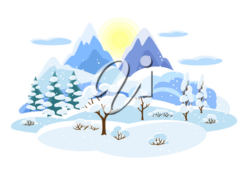 Winter landscape with trees, mountains and hills. Seasonal illustration.