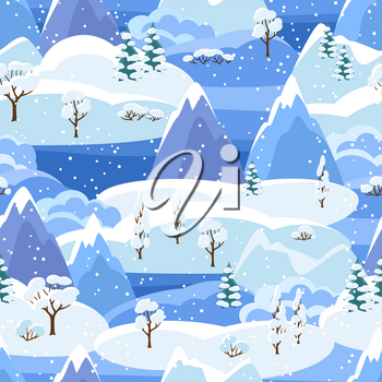 Winter seamless pattern with trees, mountains and hills. Seasonal landscape illustration.
