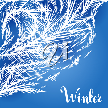 Winter frozen window background. Ornament of ice crystals on the glass.