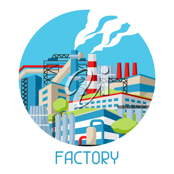 Industrial factory background. Manufacture building illustration in flat style.