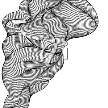 Background with wave line curls. Monochrome stripes black and white texture.
