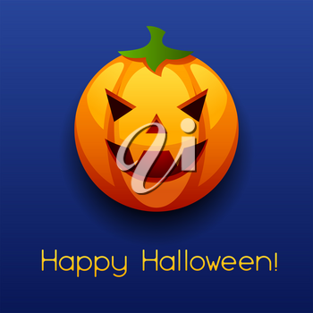 Happy Halloween angry pumpkin. Celebration party greeting card.