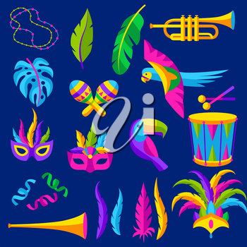 Carnival party set of celebration icons, objects and decor. Mardi Gras illustration for traditional holiday or festival.