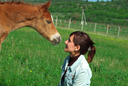 Foal and girl. Element of design.