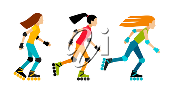 Roller-skating women. Sport characters in flat style. Isolated on white background.