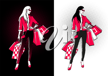 Women with shopping bags. Two versions on blak and white backgrounds. Halftone shadows. Comic style.