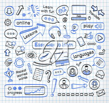 Doodle set of online lessons. Vector hand drawn sketch icons in black and blue colors. Isolated on white background.
