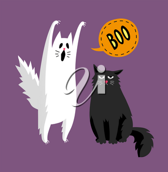 Cute halloween ghost and black cat. Isolated on white background. Flat style vector illustration.