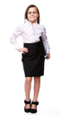 Business girl portrait, isolated over white