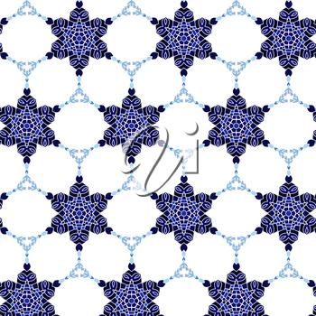 Lace blue floral colorful ethnic ornament seamless pattern