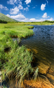 Lake in mountain valley. Beautiful natural landscape