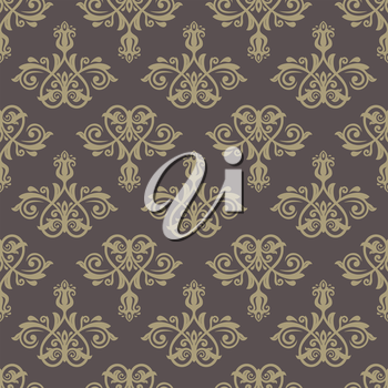 Oriental vector pattern with damask, arabesque and floral elements. Seamless abstract background