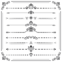 Vintage set of vector decorative elements. Horizontal separators in the frame. Collection of different ornaments. Classic black and white patterns. Set of vintage patterns