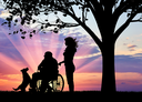 Silhouette of nurse caring for a disabled person in a wheelchair next to dog under tree. Concept of caring for a disabled person and house of aged