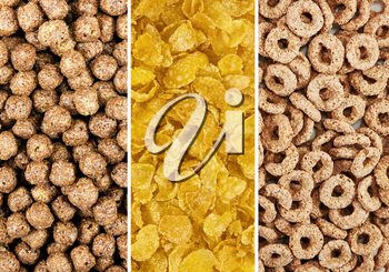 Corn flakes balls and rings. Background macro texture