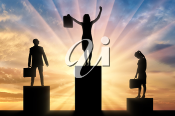 Concept hiring process. Silhouette of the jubilant woman who received the position, stands on the podium of the winner higher than the silhouette of an upset man and woman - nearby