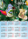 A beautiful calendar for 2016 with New Year's background.