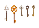 A set of five decorative keys. Isolated on white.