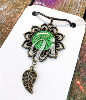 Beautiful green pendant with point painting. Jewelry for women.
