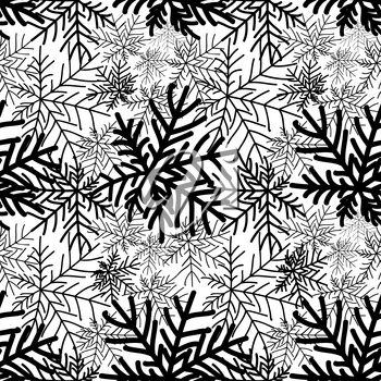 Abstract winter black and white floral seamless pattern. Snow forest texture. Nature wallpaper.