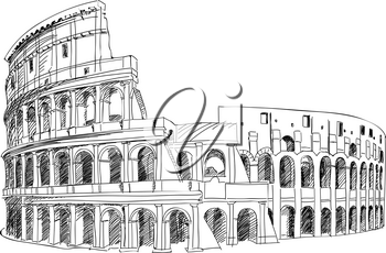 Coliseum in Rome, Italy. Colosseum hand drawn vector illustration isolated over white background