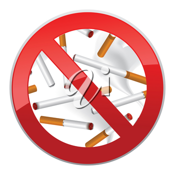 No smoking symbol. Inscription made of cigarettes on pure background