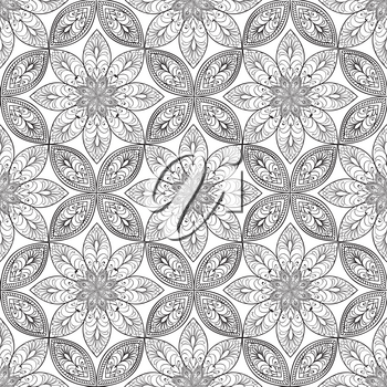 Abstract floral seamless pattern. Geometric ornament texture. Oriental ethnic background.