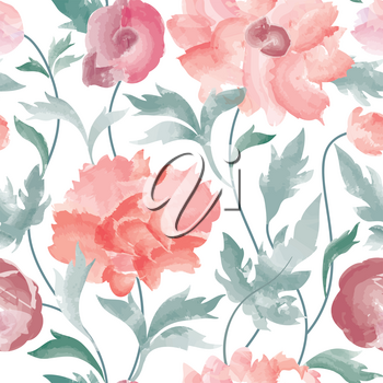Floral seamless pattern  Flower background. Floral tile ornamental texture with flowers  Spring flourish garden watercolor wallpaper