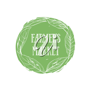 Farm natural product sign. Farm food lettering in drawn floral circle label with leaves. Good icon for local farm market. Typographic design element