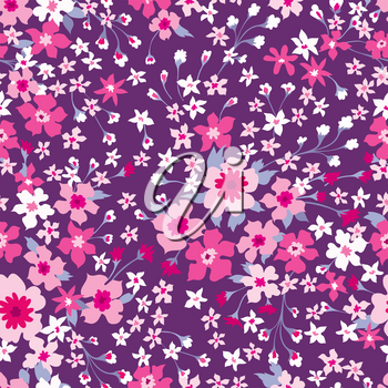 Floral seamless pattern. Ornamental leaves and flowers retro background. Abstract plant wallpaper.