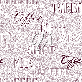 Coffee seamless pattern. Coffee beans and lettering COFFEE hand-drawn background