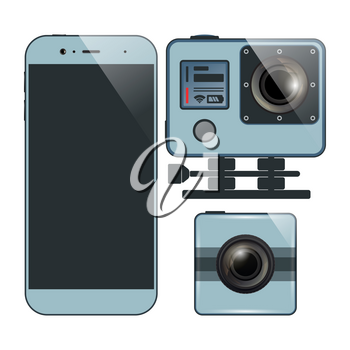 Set of smartphone and two action camera. Videography, photography equipment. Vector illustration