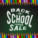 Back to school super sale. Green chalkboard background and colored pencils. Vector illustration.