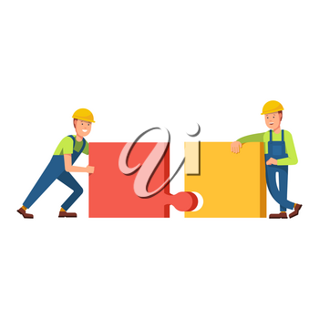 Builders construct the building of puzzles, truck carries building blocks on scene. Building construction of puzzles. Flat vector concept illustration