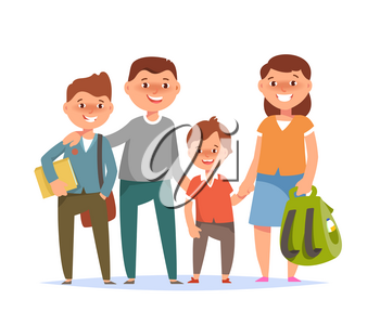 Vector illustration of happy family standing togetherness father, mother, son elementary schoolboy student go to school on white background flat cartoon style. Back to school concept