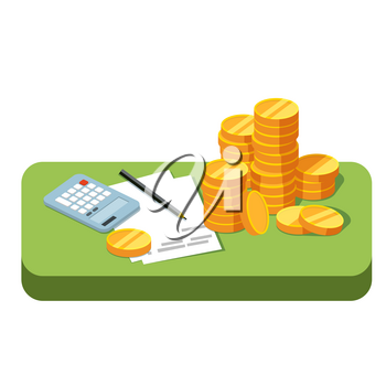 Green table with stacks of coins, working papers and calculator isolated. Making money, accounting. Business success. Vector illustration in style flat is on white background