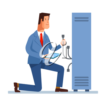 Vector flat illustration of network engineer administrator working with hardware equipment of data center. Admin and server rack networking service isolated background