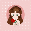Dark brown monkey holding a red flower. Print for cards, children's books, clothes