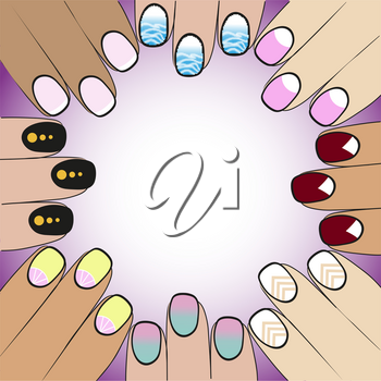 hand fashionistas with different variants of nail polish
