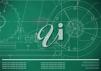 Vector drawing. Mechanical drawings on a light green background. Engineering illustration. Corporate Identity. Points