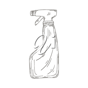 Contour Medical icon. Vector illustration in hand draw style. Isolated on white background. Medical instrument. Antiseptic, sanitizer spray
