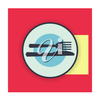provide etiquette excellent meal on white background flat. Knives and forks on a plate. Vector illustration.