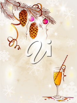 hand drawn vintage vector  background with Christmas tree and champagne