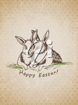 Vector hand drawn vintage Easter background with rabbits