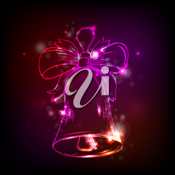 Christmas shining vector background with bell