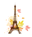 Romantic background with autumn watercolor leaves and Eiffel Tower