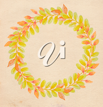 Round watercolor floral frame with yellow autumn leaves