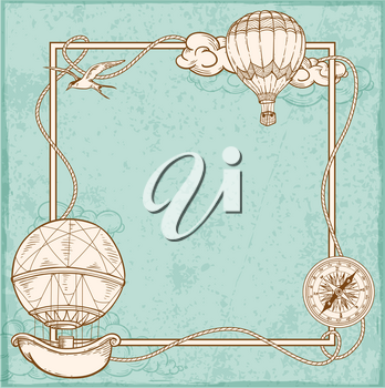 Vintage frame with air balloons flying in the sky. Hand drawn vector illustration.
